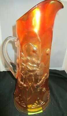 Pretty Antique Northwood Carnival Glass Marigold Oriental Poppy Tankard Pitcher