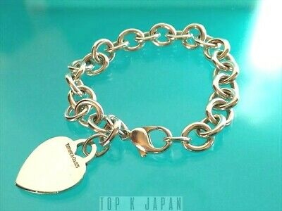 Tiffany & Co. Heart Tag Charm Bracelet Chain Sterling Silver Authentic Excellent
