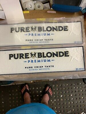 2 Pure Blonde Bar Mats Rubber New 140mm By 490mm