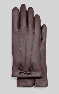 New Coach F20887 Womens Bow Leather Wool Lined Gloves Oxblood Size 6.5