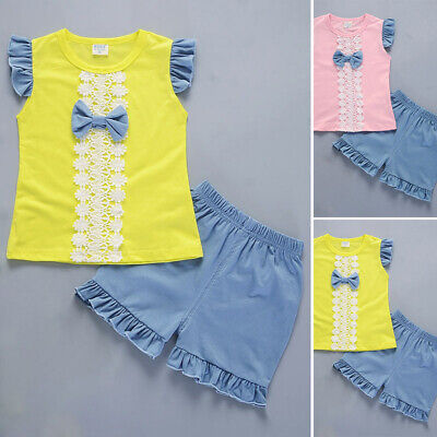 Toddlers Girls Outfit Girls Girls Outfit Round Neck Cute Kids Short Sleeve
