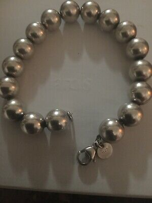 Tiffany & Co. 925 Sterling Silver 10mm Bead Ball Bracelet 7.5""