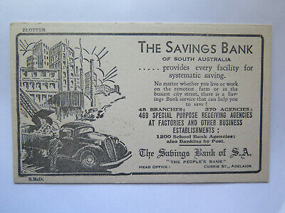 c1940 THE SAVINGS BANK of SOUTH AUSTRALIA INK BLOTTER in EXCELLENT CONDITION