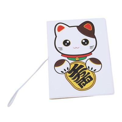 Cute Cartoon Cat PU Leather Passport Cover Wallet Travel Function Credit Card 6N
