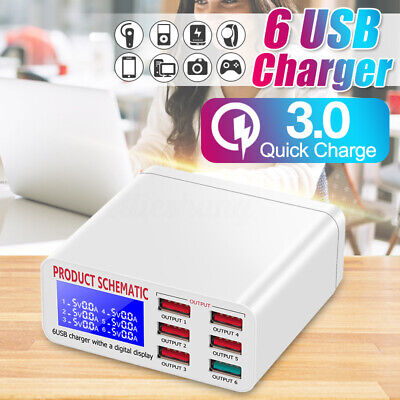 6 Port USB Plug Charging Station QC 3.0 Dock Stand Desktop Multi Charger Hub
