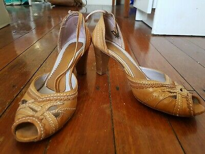 Boho Tan Leather Strappy Heels--Size 39