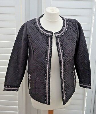 Fat Face Dark Grey Open Jacket Quilted Beaded Boho - Size 10 - New