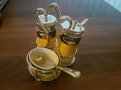 Antique Carlton Ware Silver Plated Salt/Pepper, Mustard & Sauce Cruet Set