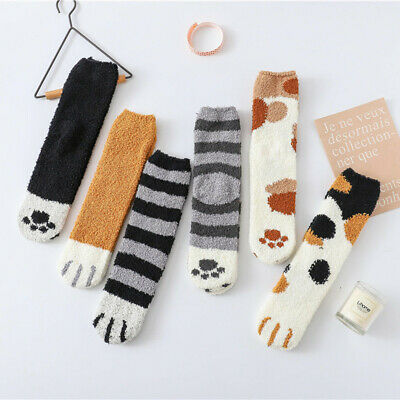 Women Cute Cat Claw Socks Coral Thickening Fuzzy Middle Stockings Winter Socks