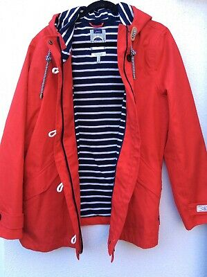 Joules Coast Mid Waterproof Cotton Canvas Coat/Jacket Red Size 18 rrp £106