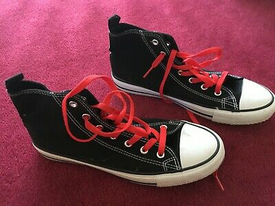 Fabulous black white red Primark converse high top boots shoes size UK 6 EU 39.5