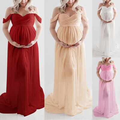 Women Off Shoulder Pregnant Sexy Photography Ruffled Maternity Party Long Dress