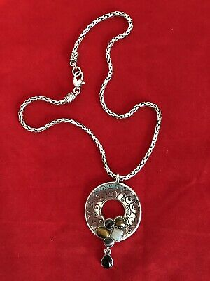 Brighton Necklace - Eye of the Tiger Antique Silver Tone Ornate, Natural Stone