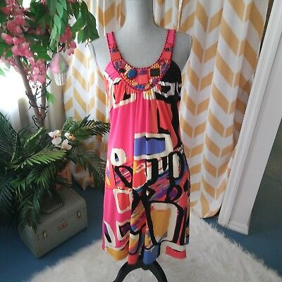 Eci New York Ladies Size 10 Multi Color Beaded Sleeveless Dress