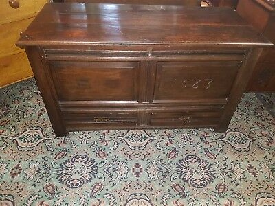 Antique 17th Century Carved Oak Coffer mule Chest c1720 with Candle Box