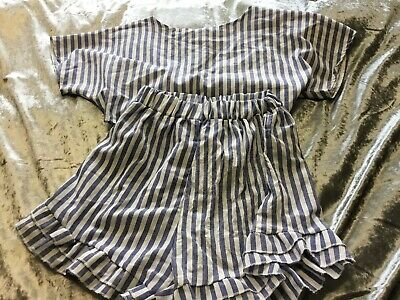 Girls /ladies Blue And White Stripes Top And Short Set Size Ladies Uk 6 /8