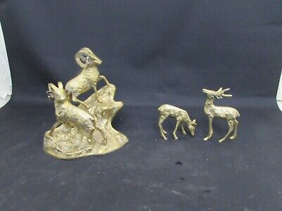 Stunning Vintage Brass Ornaments, Mountain Goats Climbing, Male & Female Deer