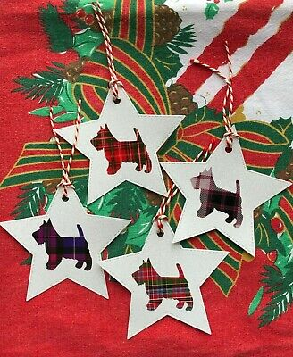 8 Large Luxury Glitter Star & Tartan Scottie Gift Tags Price Labels With Twine