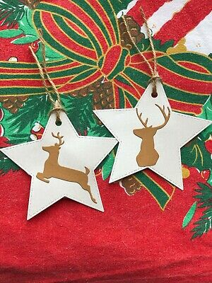 8 Large Luxury Pearl Star Reindeer Stag Gift Tags Price Labels With Jute Twine