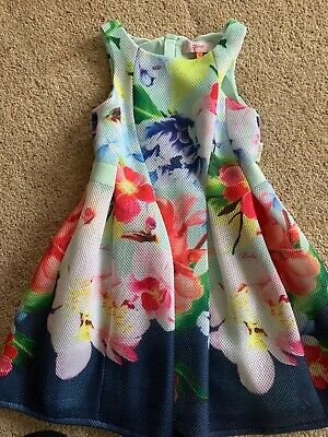 Girls Ted Baker Floral Blue Dress Age 6-7