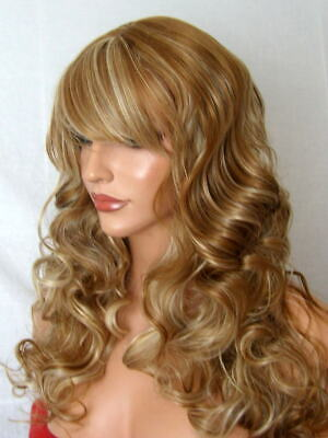 Auburn Blonde highlight Curly Ladies Womens real natural fashion fringe Wig