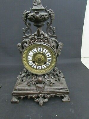 Antique Bronze French Empire Louis XV Style Striking Mantel Clock For Repair