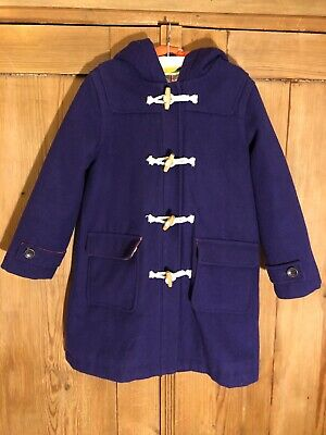 Mini BODEN wool mix girls purple duffle coat with toggles. Age 7-8 years.