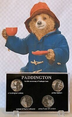2019 & 2018 Paddington Bear 4 X 50p Coin In Display Case UNC From Sealed Bag