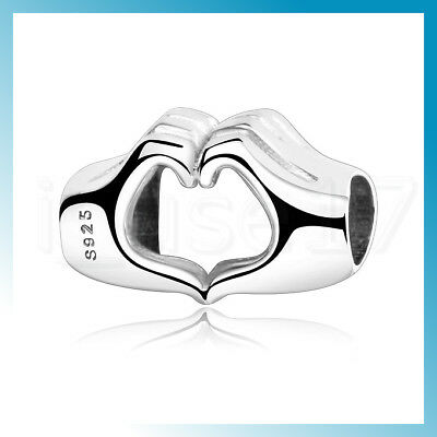 * Hand to Hand Heart Love Husband Wife S925 Sterling Silver Bracelet Charm Bead