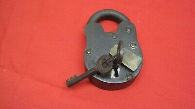 Really Old Antique Cast Iron Padlock Paddle Lock w/ Key Brass Cover Works