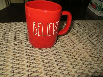 Rae Dunn By Magenta BELIEVE  LL Large Letter Farmhouse Red Holiday Mug