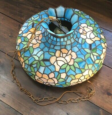Extra Large Antique Leaded Stained Glass Hanging Dome Light Fixture