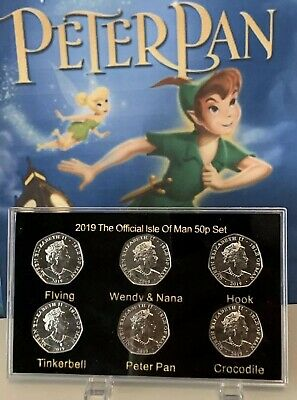 2019 Full Set Isle of Man Celebrating Of PETER PAN 50p coin + Display Case