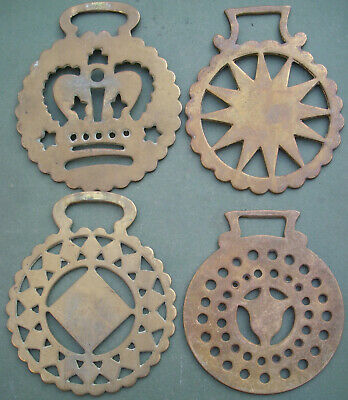 Four Different Old Stamped Horse Brasses, Free P&P, Pressed Brass