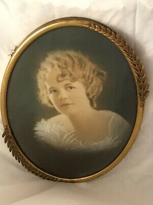 Antique Large Picture Frame Brass Metal Convex Dome Glass Oval Ornate Flapper
