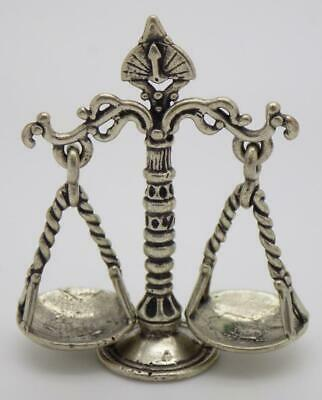 Vintage Solid Silver Italian Made Scale of Justice / Libra Stamped Miniature
