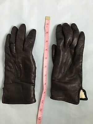 ladies vintage fur lined brown leather gloves length 9 inches, palm 3.25 inches