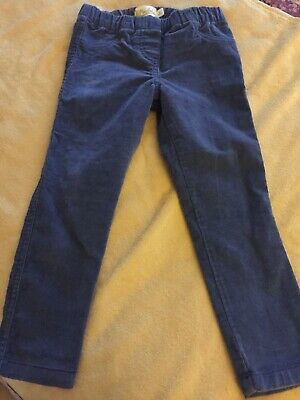 Mini Boden Girls' Blue Fine Needlecord Cotton Trousers Age 4 Years