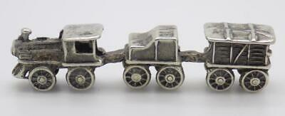 Vintage Solid Silver Italian Made Dollhouse Train Miniature Stamped Figurine