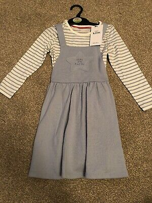 Star In The Making Light Blue Pinafore Dress With Striped Top New With Tags M&S