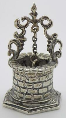 Vintage Solid Silver Italian Made Water Well Dollhouse Stamp Miniature Figurine