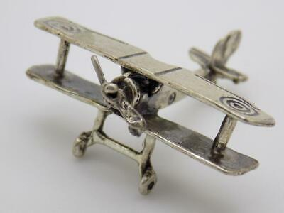 Vintage Solid Silver Italian Made WWII Plane Miniature Stamped Figurine