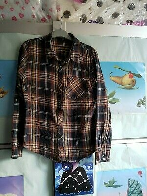 PRIMARK womens black white red brick yellow check button up long sleeve shirts