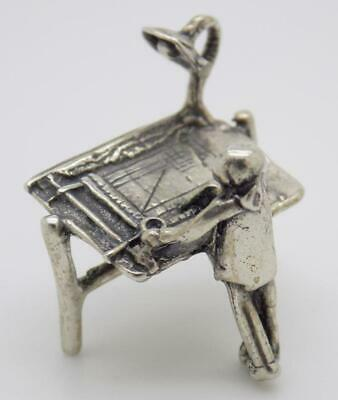 Vintage Solid Silver Italian Made Architect Figurine, Miniature, Stamped