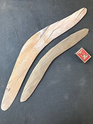 Two Very Old Australian Aboriginal Boomerangs - Weathered Field Finds