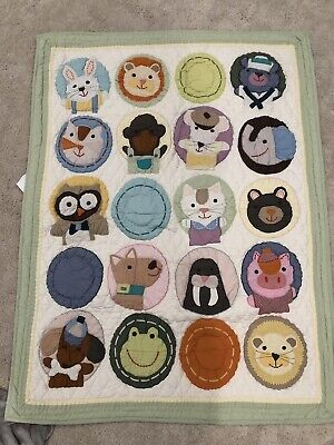"Land of Nod ""Animal Circles"" Crib Quilt"