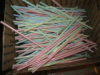 NEW!  PLASTIC STRAWS!  Box of 500+!  Perfect for Arts & Crafts!  Multi Colors