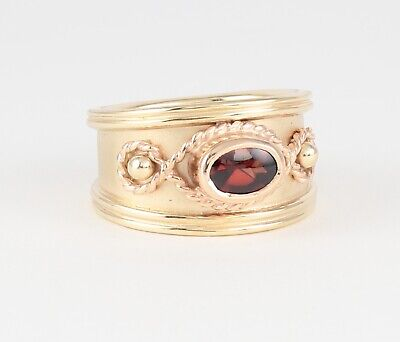 Welsh Clogau 9Ct Yellow And Rosey Gold Byzantine Ring / Band With Garnet