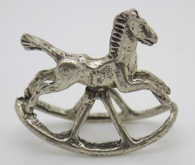 Vintage Solid Silver Italian Made Dollhouse Rocking Toy Horse Stamped Figurine