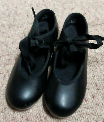 Capezio Girls Childs Black Leather Tele Tone Tap Dance Shoes 9 M Toe and Heel